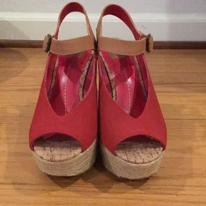 dv dolce vita espadrille red suede peep toe wedge